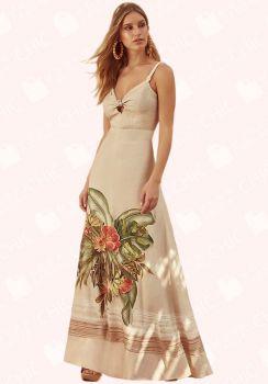 Vestido Longo Estampa Flores